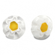 Millefiori beads disc flower 10mm Transparent-White-Yellow