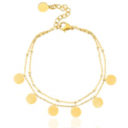 Stainless steel anklets 2 layer coins Gold