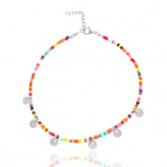 Stainless steel anklets rocailles and coins Silver-Multicolour
