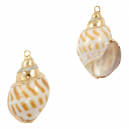 Shell pendant specials Whelks White Brown-Gold