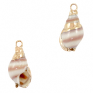 Shell pendant specials Horn Snail Beige White-Gold