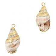 Shell pendant specials Whelks Beige White-Gold