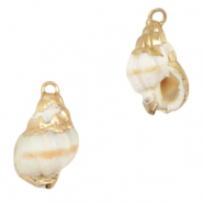 Shell pendant specials Horn Snail Creamy White-Gold
