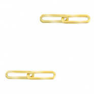 Stainless steel charms/connector double links oval Gold
