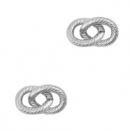 Stainless steel charms/connector double links oval Silver