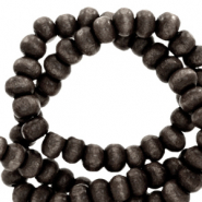 Wooden beads round 6mm Anthracite Black