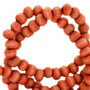 Wooden beads round 6mm Terracotta Red