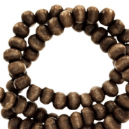 Wooden beads round 4mm Rocky Road Brown
