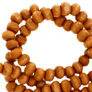 Wooden beads round 4mm Amber Brown