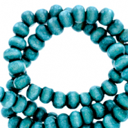 Wooden beads round 4mm Cyan Blue