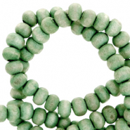 Wooden beads round 4mm Vintage Basil Green