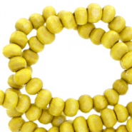 Wooden beads round 4mm Lemon Yellow