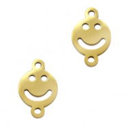 Stainless steel charms/connector smiley Gold
