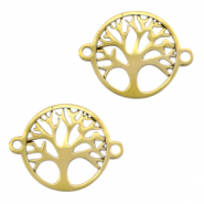 Stainless steel charms/connector tree of life Gold