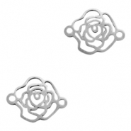 Stainless steel charms/connector rose Silver