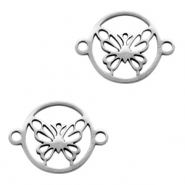 Stainless steel charms/connector butterfly Silver
