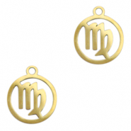 Stainless steel charms zodiac sign Virgo Gold