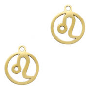 Stainless steel charms zodiac sign Leo Gold