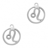 Stainless steel charms zodiac sign Leo Silver