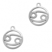 Stainless steel charms zodiac sign Cancer Silver