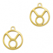 Stainless steel charms zodiac sign Taurus Gold