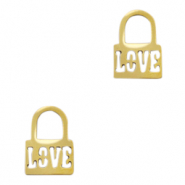 "Stainless steel charms lock ""love"" Gold"