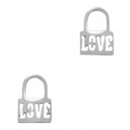 "Stainless steel charms lock ""love"" Silver"