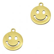 Stainless steel charms smiley Gold