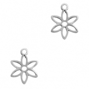 Stainless steel charms flower Silver