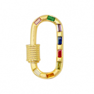 Zirconia clasp oval Gold-Rainbow