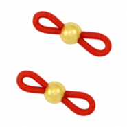 Rubber loop ends ball Red-Gold