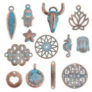 DQ European metal beads and charms DQ European metal beads copper blue patina