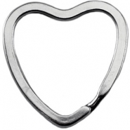 Keychain ring heart Antique silver