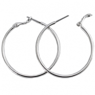DQ creole earrings 30mm Silver plated