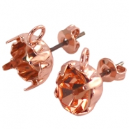 DQ earpins with loop for SS 29 chaton Rose gold plated