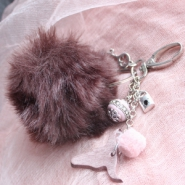 Inspirational Sets Faux fur pompom keychains