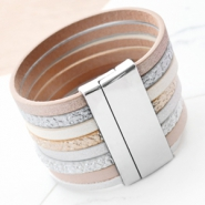 Inspirational Sets Metallic bracelets of faux leather