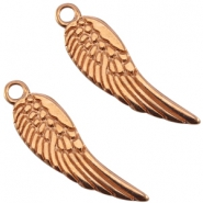 Large DQ metal charms angel wing Rose gold (nickel free)