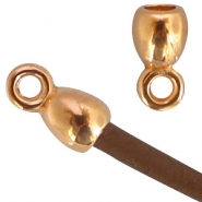 DQ metal end cap with loop for wire until 3mm Rose gold (nickel free)