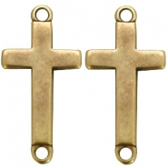 DQ metal charm two loops cross Antique bronze (nickel free)