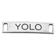 "Charm 2 loops ""YOLO"" Antique Silver"