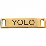 "Charm 2 loops ""YOLO"" Antique gold"