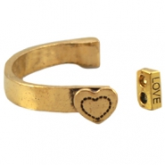 Metal bracelet heart Antique gold