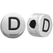 DQ metal letterbead D Antique silver (nickel free)