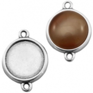 DQ metal setting 2 loops for 15mm cabochon Antique silver (nickel free)