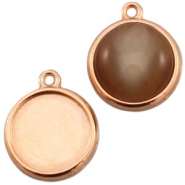 DQ metal setting 1 loop for 15mm cabochon Rose gold (nickel free)