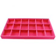 18 Compartment jewellery display material Fuchsia