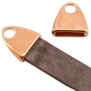 DQ metal end cap with loop (for 10mm DQ flat leather)  Rose gold (nickel free)