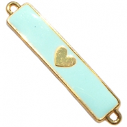 Charm two loops heart Gold - haze blue
