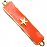 Charm two loops star Gold - fiery red